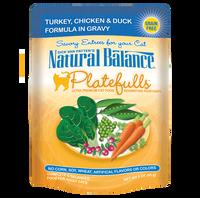 Natural Balance Platefulls Grain-Free Turkey, Chicken & Duck Formula in Gravy Cat Food Pouches 3oz