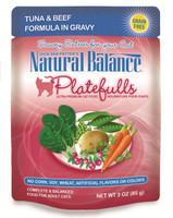 Natural Balance Platefulls Grain-Free Tuna & Beef Formula in Gravy Cat Food Pouches 3oz