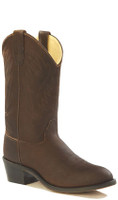 Jama Old West Youth R Toe Cowboy Boots - Brown