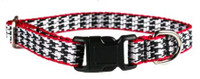 Leather Brothers PocketP up Herringbone Adjustable Collar - Black/Red/White