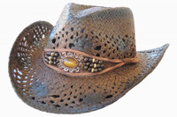Women's Outback 9 Straw Brown Beaded Hat