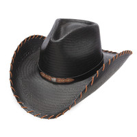 Charlie Horse Up All Night Straw Hat - Black