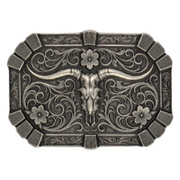 Montana Silversmiths Classic Flourished Trim Attitude Buckle with Longhorn Skull