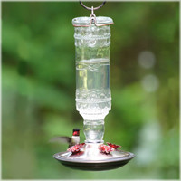 Antique Bottle Hummingbird Feeder
