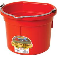 Duraflex 8 Quart Flat Back Plastic Bucket - Red
