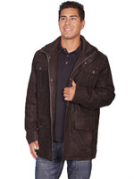 Scully leather Men's Long Leather Jacket - Brown