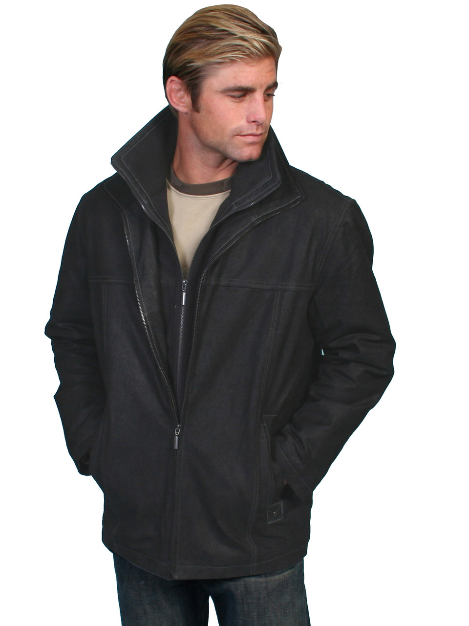 Scully Leather Men's Vintage Car Coat Black - Chaar