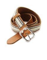 Lucky Brand Ivory Beaded Belt Brown