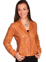 Scully Wome's Lamb Leather Stitch Jacket Cog