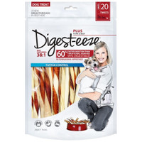 Digest-Eeze Natural Beefhide Dog Twists 20 pack Dog Treat