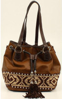 Blazin Roxx Shania Collection Aztec Ribbon Bucket Bag - Brown