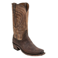 Lucchese Mens Percy Antique Tan Lizard Med Sq Toe