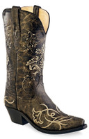 Jama Old West Women's Crackle Bone Emb cowboy Boots - Black