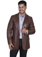 Scully Men's Lamb Leather Blazer -  Chocolate