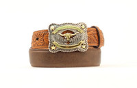 Nocona Kid Tooled Leather Belt Longhorn Buckle -  Brown