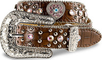 Nocona Girl's Western Pink Heart Belt