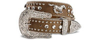 Nocona Girls Rhinestone Leather Belt -  Tan