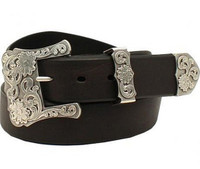 Nocona Ladies' 3 pc Buckle Basic Belt - Black