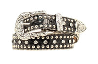 Nocona Western Belt Womens Leather Croc Rhinestone - Black