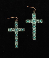 Blazin Roxx Patina Turquoise Cross Earrings