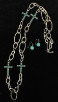 Blazin Roxx Silver Link Chain with Turquoise Cross Necklace & Earrings Jewelry Set