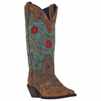Laredo Women's Miss Kate Cowboy Boots Tan Brown & Teal