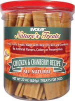 Evolve Nature's Treats Chicken & Cran Jerky 22oz Dog Treats, 22-oz jar