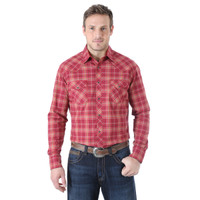 Wrangler Competition Advanced Comfort Shirt - Burgondy/Blue Plaid