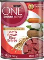 Purina ONE SmartBlend Classic Ground Beef & Brown Rice Entree Adult Canned Dog Food 13oz