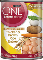 Purina ONE SmartBlend Classic Ground Chicken & Brown Rice Entree Adult Canned Dog Food 13-oz