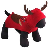 Rudy Reindeer Hoodie Sweater - Red