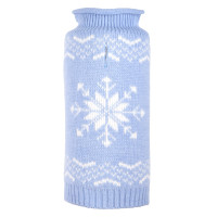 Snowflake Icy Blue Roll Neck Dog Sweater - Blue