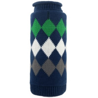 Modern Argyle Navy Roll Neck Dog Sweater - Navy
