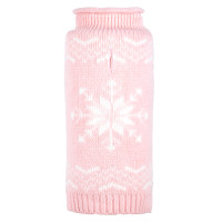 Snowflake Icy Blue Roll Neck Dog Sweater - Pink