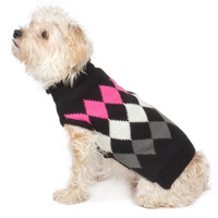 Modern Argyle Navy Roll Neck Dog Sweater - Black