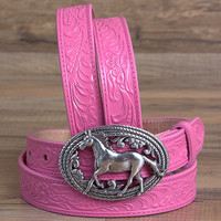 Justin Girls Pink Floral Belt with Running Horse Buckle