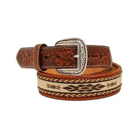 Ariat Western Belt Mens Ribbon Inlay Southwest Tooled - Brown