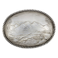 Montana Silversmiths Antiqued Mountain Scene Belt Buckle