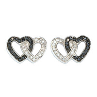 Montana Silversmiths Black Crystal Double Heart Earrings