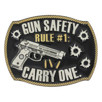 Montana Silversmiths Gun Safety Rule #1 Attitude Buckle