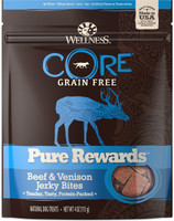 Wellness Core Pure Rewards Grain-Free Beef & Venison Jerky Bites Dog Treats, 4-oz