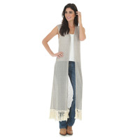 Wrangler Women's Sleeveless Duster with Crochet Trim  - Grey