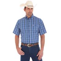 Wrangler Men's Classic Short Sleeve Shirt - Blue/white