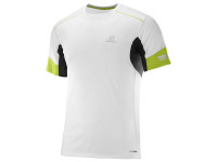 Salomon Men's Agile Short Sleeve TEE - White/Lime Green/Black