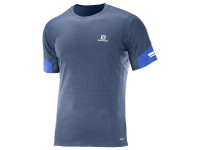Salomon Men's Agile Short Sleeve TEE - Blue/Surf The Web