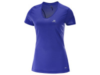 Salomon Women's Trail Runner Shot Sleeve TEE - Spectrum Blue