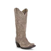 Corral Women's Embroidered Bone Laser Cut Cowboy Boots - Tan