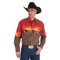 Wrangler Men's Checotah Dress Western Long Sleeve Shirt - Rust
