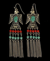 Women's Jewelry Earrings Aztec Eagle Bead Fringe Turquoise/Red