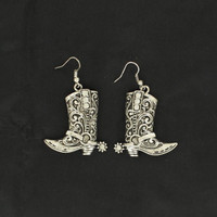 Women's Cowgirl Boot Earing Silver
